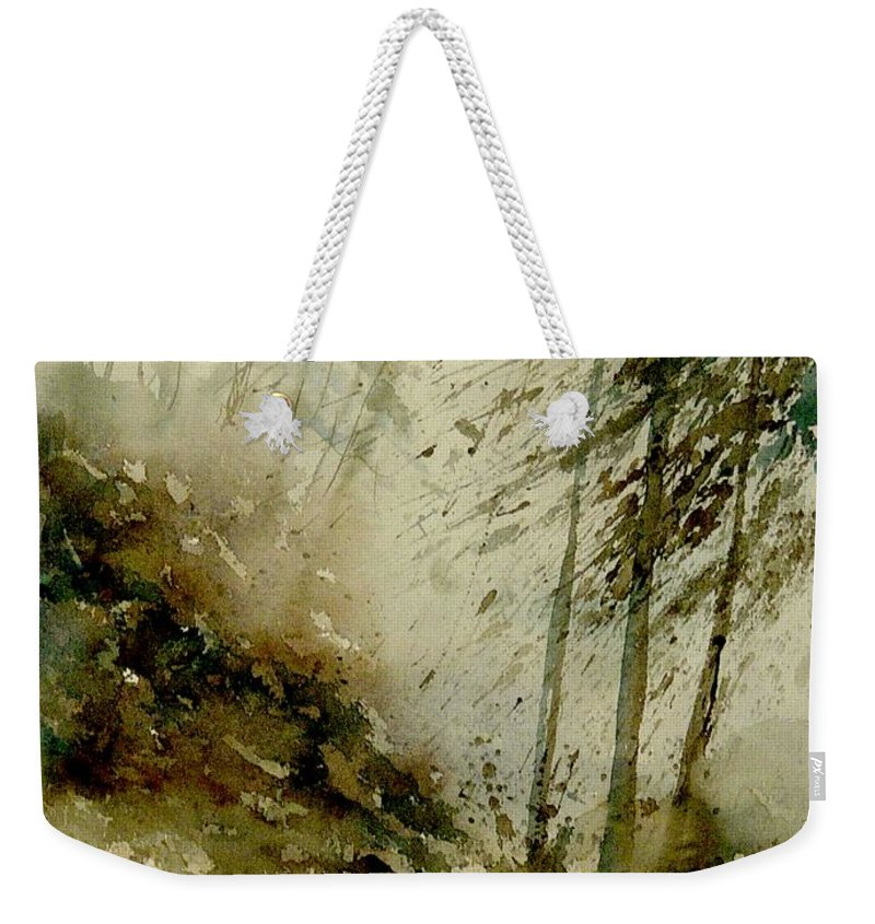 Landscape Weekender Tote Bag featuring the painting Watercolor Misty Atmosphere by Pol Ledent