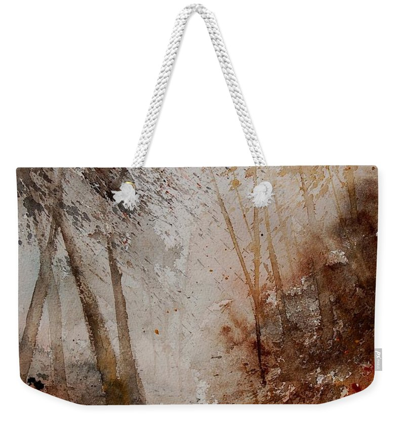 Landscape Weekender Tote Bag featuring the painting Watercolor Misty Path by Pol Ledent
