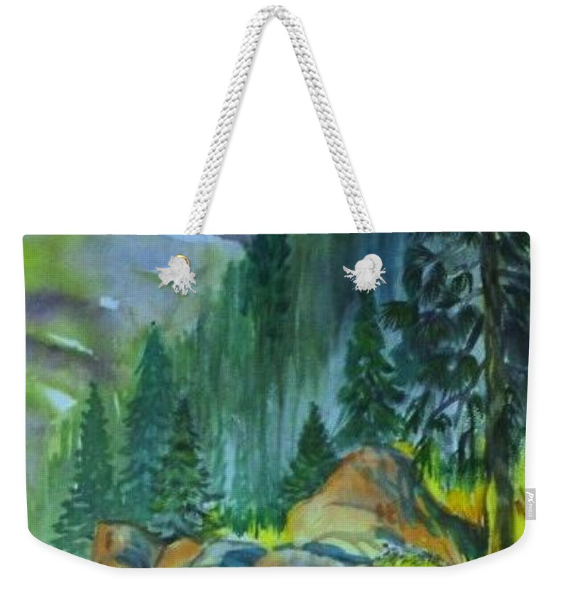 Watercolor Of Forest In Mountains Weekender Tote Bag featuring the painting Watercolor of Mountain Forest by Annie Gibbons