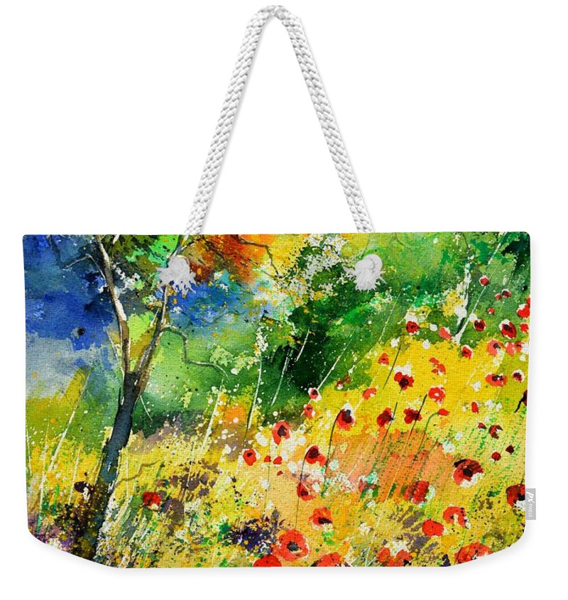 Poppies Weekender Tote Bag featuring the painting Watercolor poppies 518001 by Pol Ledent