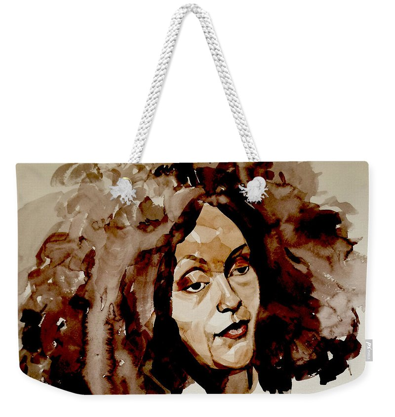Portrait Weekender Tote Bag featuring the painting Watercolor Portrait Of A Woman With Bad Hair Day by Greta Corens
