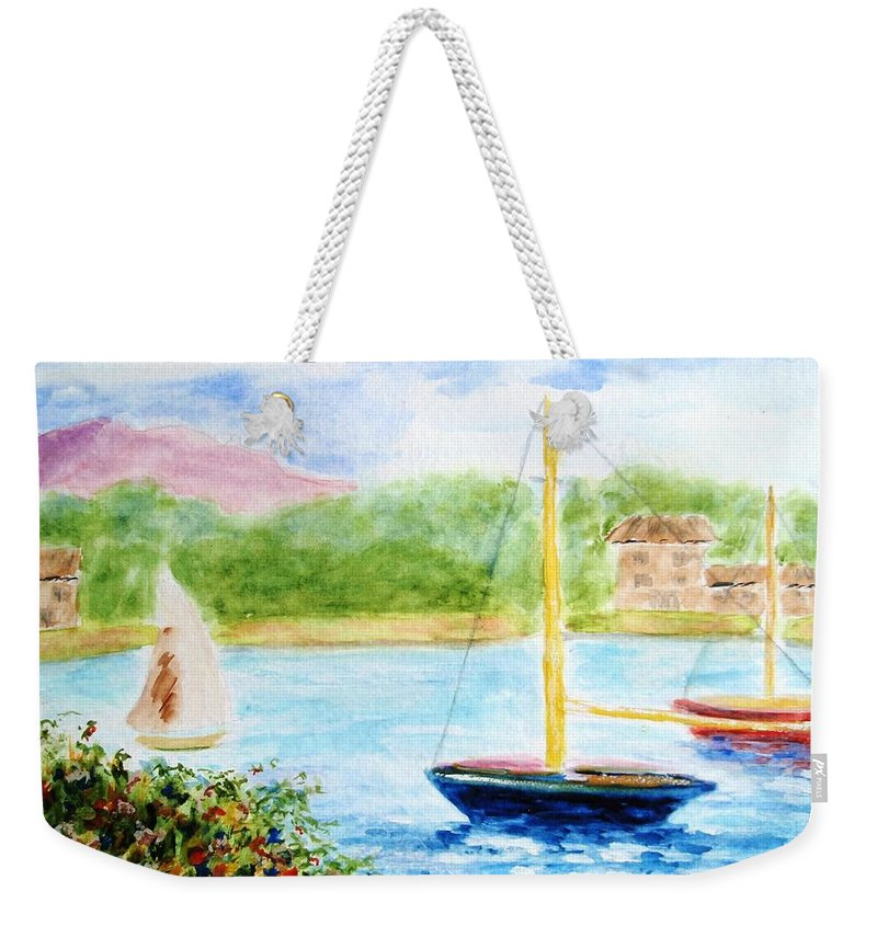 Watercolor Weekender Tote Bag featuring the painting Watercolor Sail by Jamie Frier