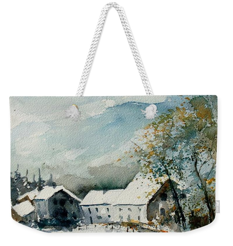 River Weekender Tote Bag featuring the painting Watercolor Sechery 1207 by Pol Ledent