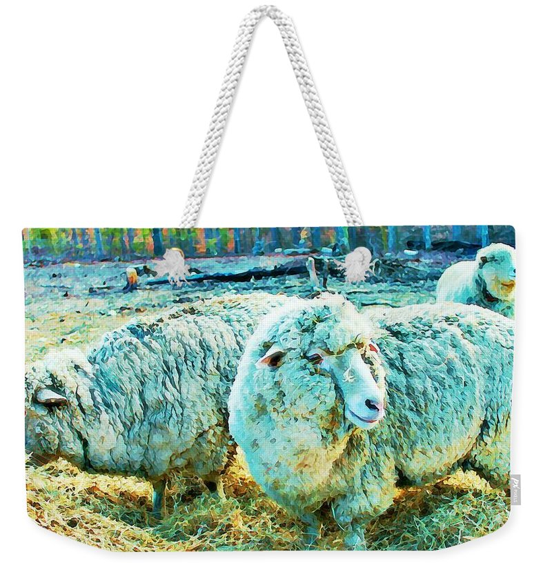 Sheep Weekender Tote Bag featuring the photograph Watercolor Sheep by Vicki Dreher
