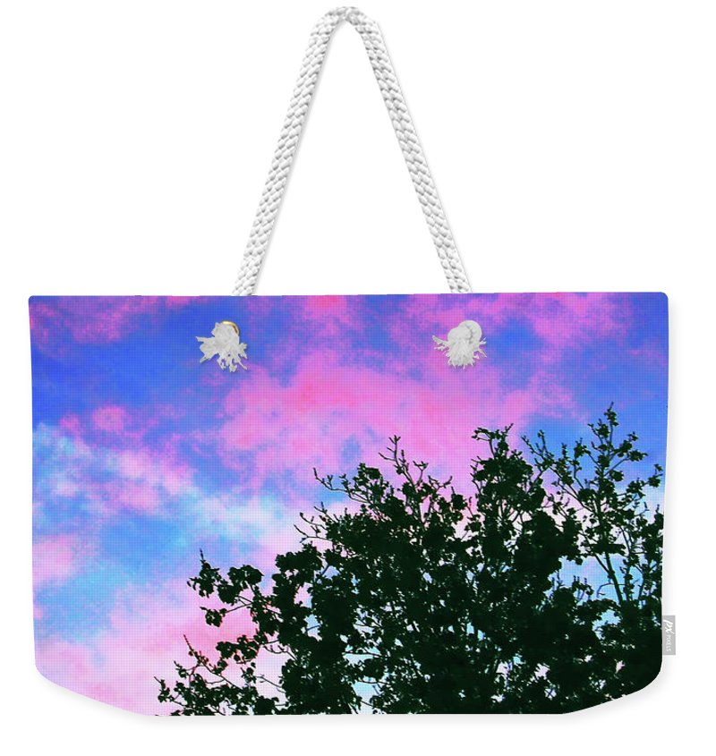 Skyscape Weekender Tote Bag featuring the digital art Watercolor Sky by DigiArt Diaries by Vicky B Fuller