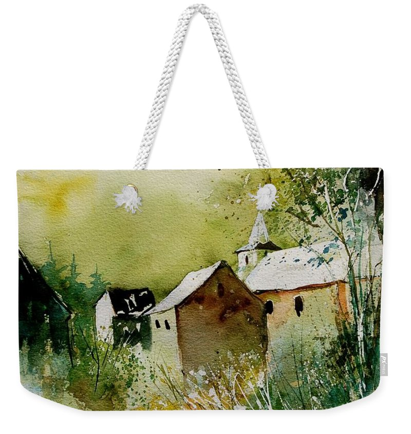 Landscape Weekender Tote Bag featuring the painting Watercolor Sosoye by Pol Ledent