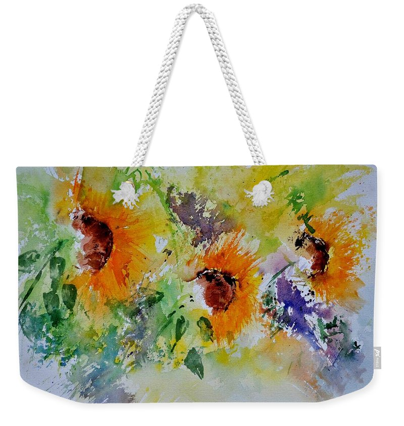 Flowers Weekender Tote Bag featuring the painting Watercolor Sunflowers by Pol Ledent