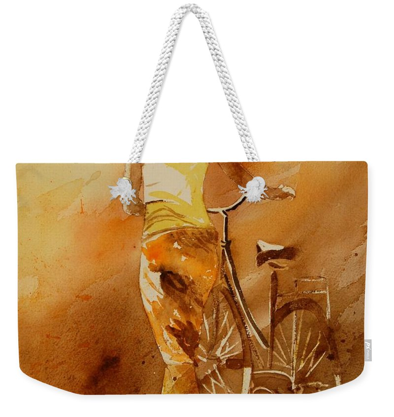 Figurative Weekender Tote Bag featuring the painting Watercolor With My Bike by Pol Ledent