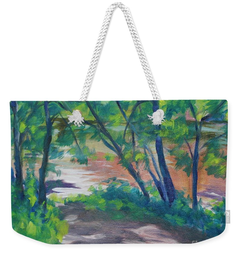 Landscape Weekender Tote Bag featuring the painting Watercress Beach On The Current River  by Jan Bennicoff