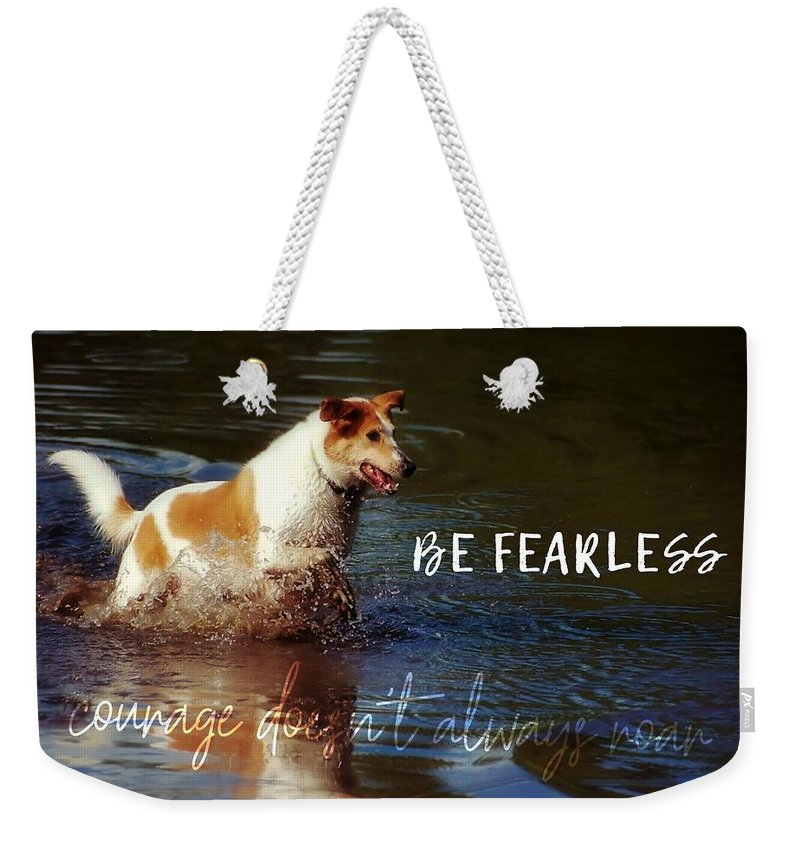 Dog Weekender Tote Bag featuring the photograph Waterdog Quote by JAMART Photography