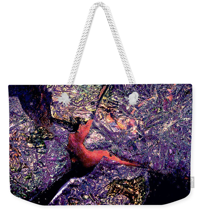 Water Weekender Tote Bag featuring the photograph Waterdrop Abstract by Nancy Mueller