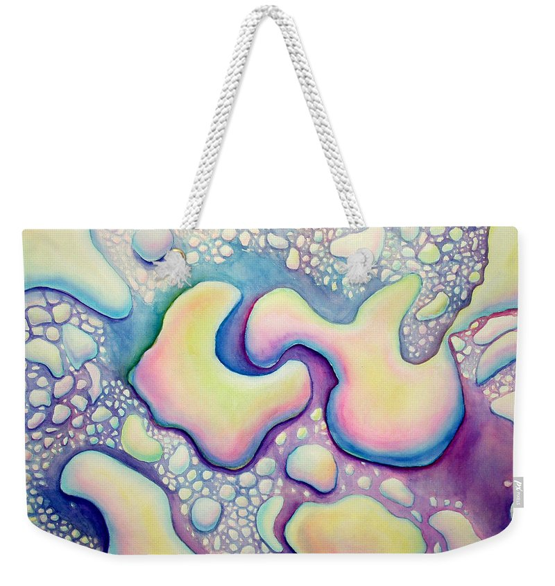 Water Weekender Tote Bag featuring the painting Waterdrop Dance by Nancy Mueller