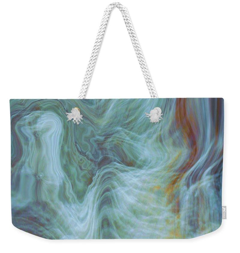 Spiritual Art Weekender Tote Bag featuring the digital art Waterfall Angel by Linda Sannuti