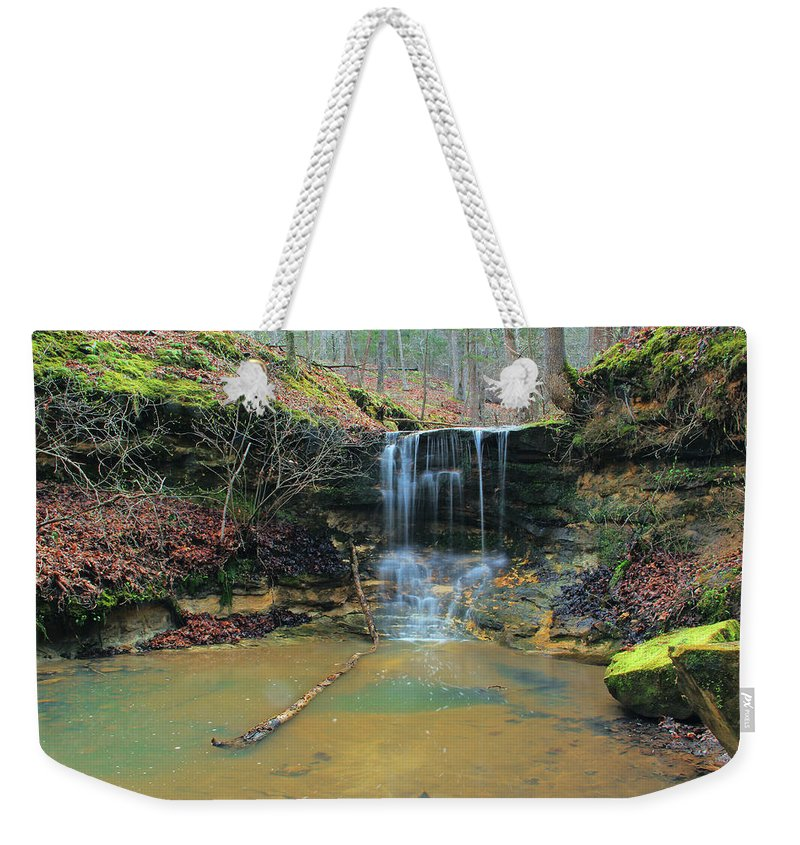 Waterfall Weekender Tote Bag featuring the photograph Waterfall At Don Robinson State Park 1 by Greg Matchick