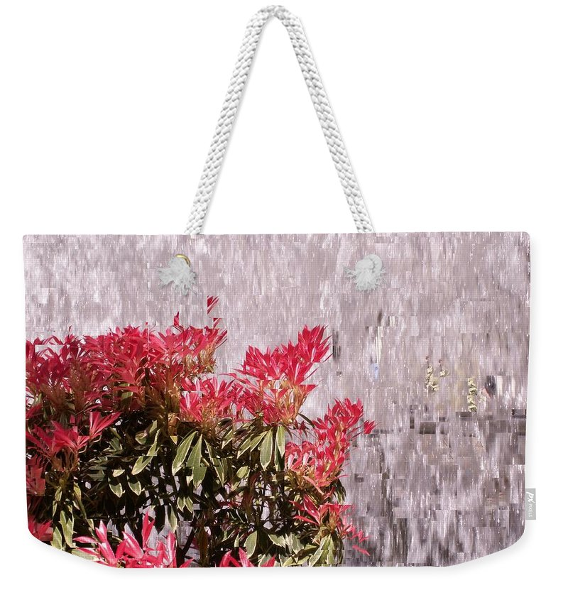 Waterfall Weekender Tote Bag featuring the photograph Waterfall Flowers by Tim Allen