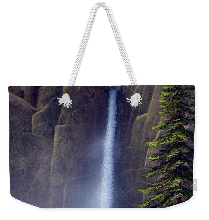 Wilderness Weekender Tote Bag featuring the painting Waterfall by Frank Wilson