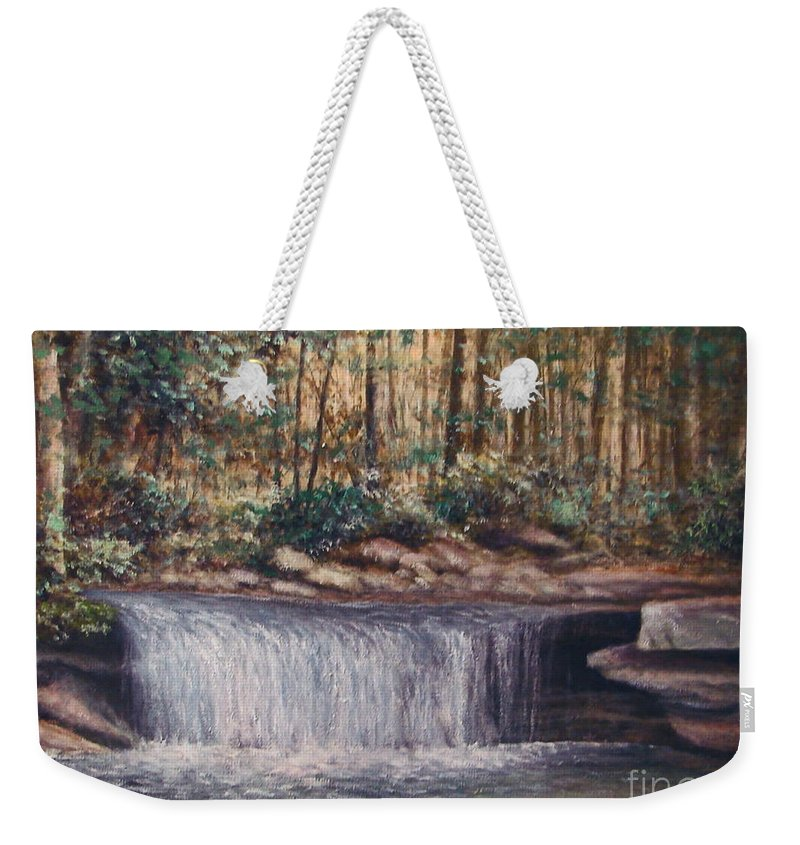 Nature Weekender Tote Bag featuring the painting Waterfall Glory by Penny Neimiller