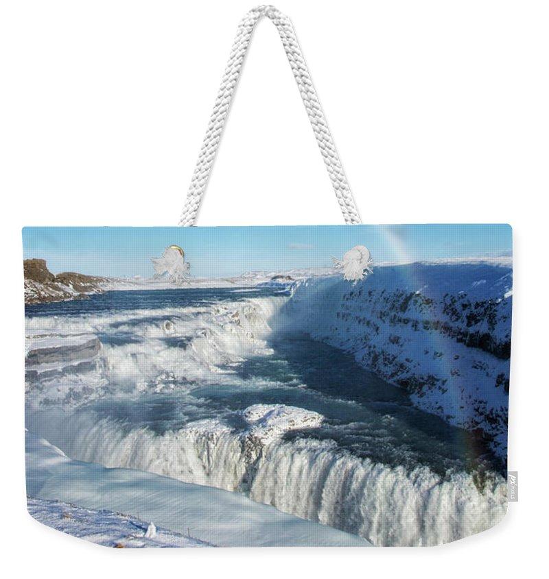 Gullfoss Weekender Tote Bag featuring the photograph Waterfall Gullfoss In Winter Iceland Europe by Matthias Hauser