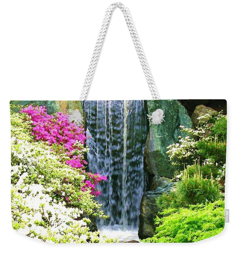 Waterfall Print On Canvas Weekender Tote Bag featuring the painting Waterfall In Spring by Susanna Katherine