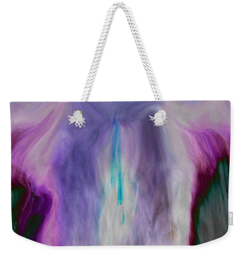 Abstract Art Weekender Tote Bag featuring the digital art Waterfall by Linda Sannuti