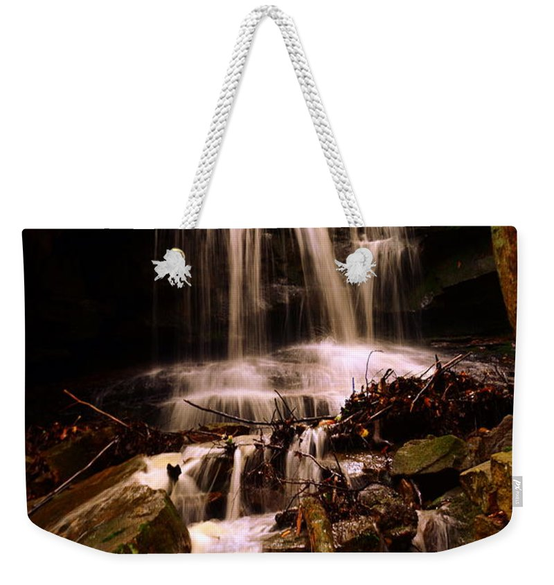Mcconnells Mill State Park Pa Weekender Tote Bag featuring the photograph Waterfall Mcconnells Mills State Park by Lisa Wooten