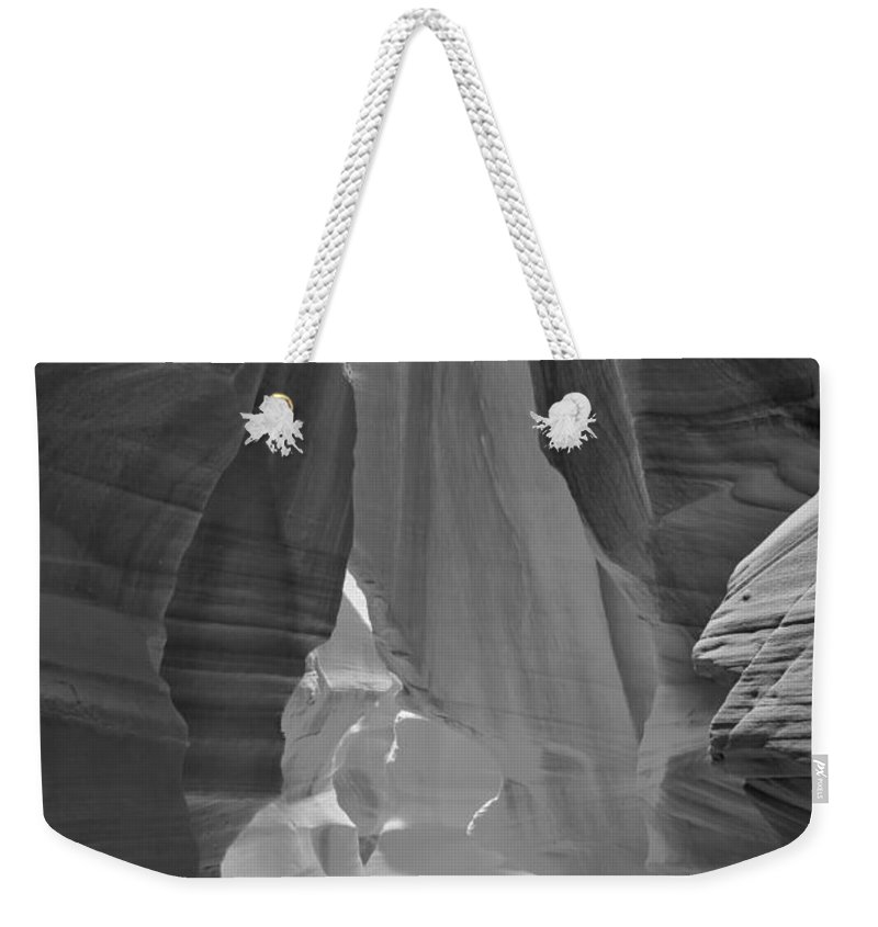Waterfall Of Light Weekender Tote Bag featuring the photograph Waterfall Of Light - Black And White by Adam Jewell
