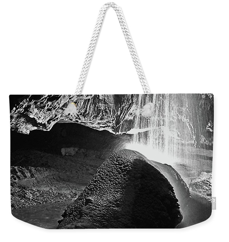 Caves Weekender Tote Bag featuring the photograph Waterfall Of The Caverns Black And White by DigiArt Diaries by Vicky B Fuller
