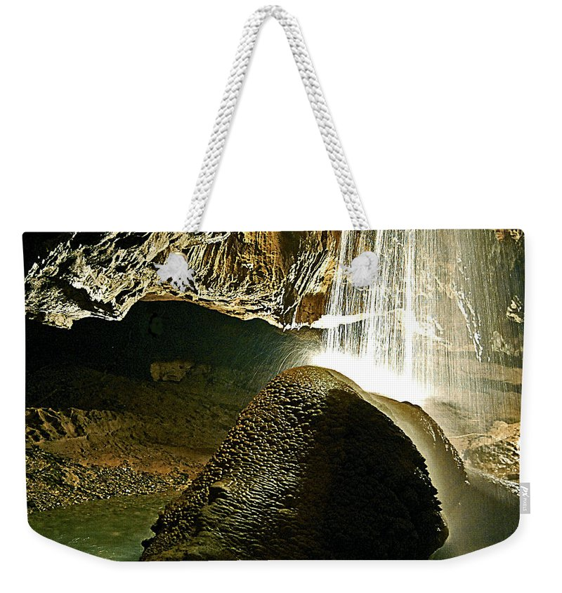 Caves Weekender Tote Bag featuring the photograph Waterfall Of The Caverns by DigiArt Diaries by Vicky B Fuller
