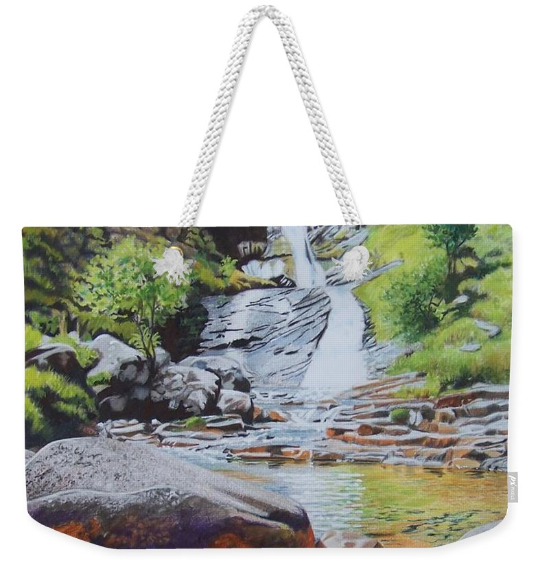 Waterfall Weekender Tote Bag featuring the mixed media Waterfall On Skye 2 by Constance Drescher