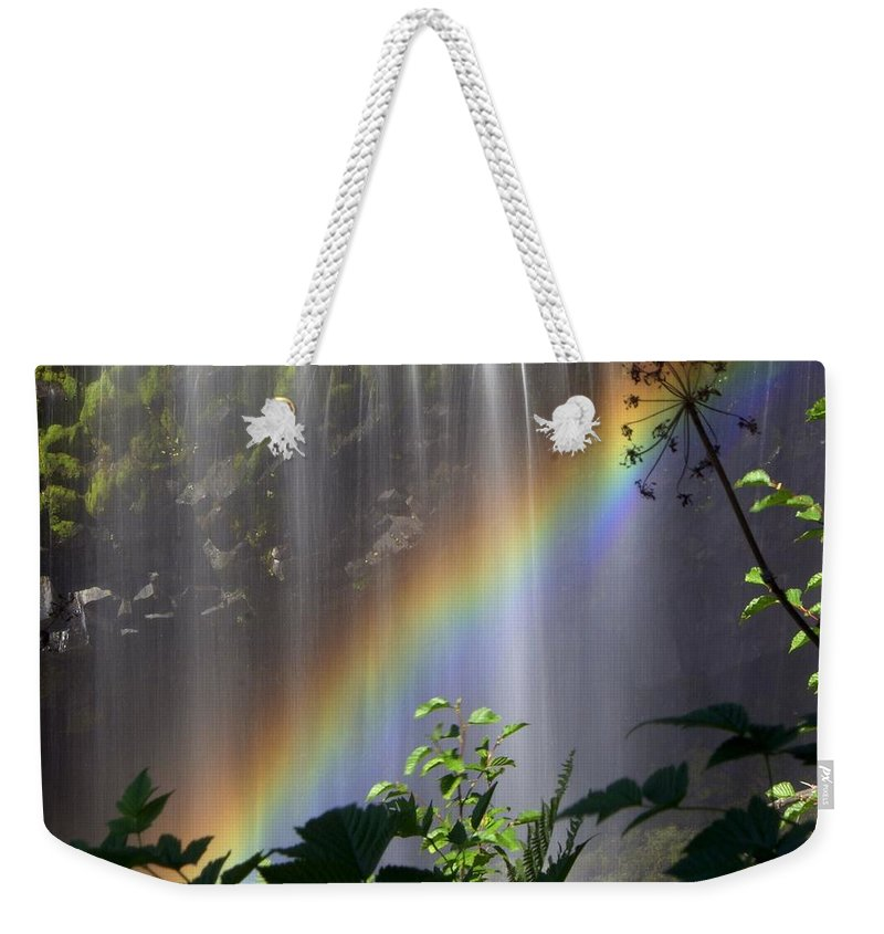 Waterfall Weekender Tote Bag featuring the photograph Waterfall Rainbow by Marty Koch