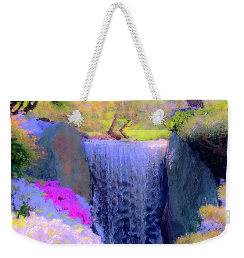 Tree Weekender Tote Bag featuring the painting Waterfall Spring Colors by Susanna Katherine