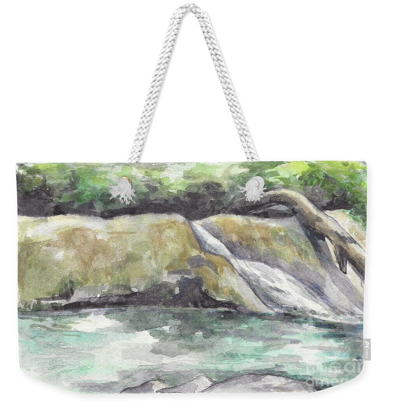 Waterfall Weekender Tote Bag featuring the painting Waterfall by Yana Sadykova