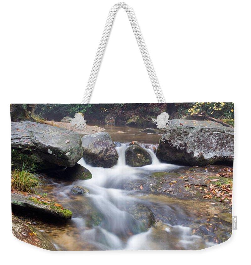 North Carolina Weekender Tote Bag featuring the photograph Waterfalls At Roaring River Stone Mountain by John Harmon