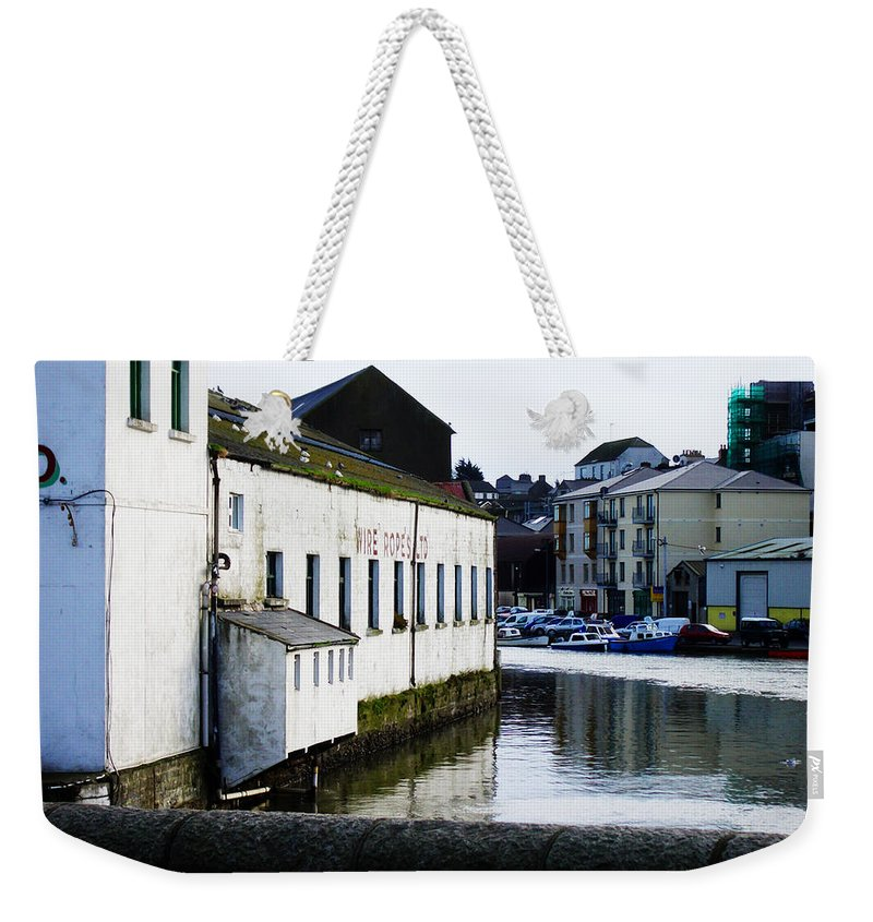River Weekender Tote Bag featuring the photograph Waterfront Factory by Tim Nyberg