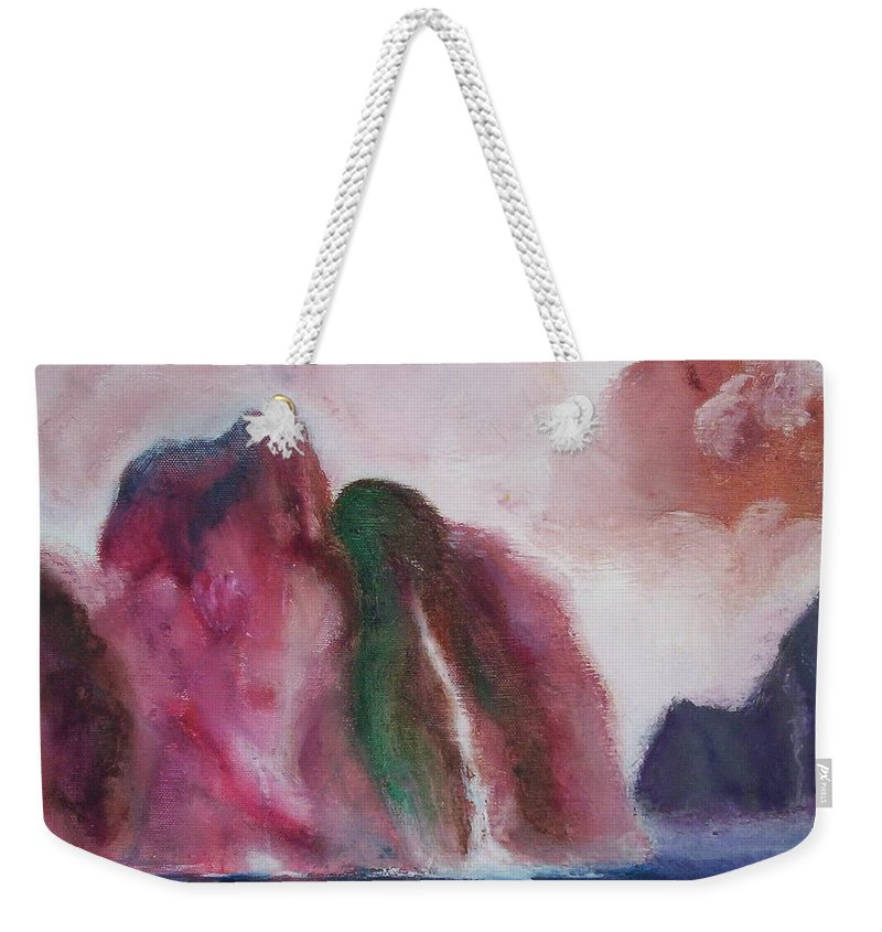Abstract Painting Weekender Tote Bag featuring the painting Waterfull by Suzanne Udell Levinger