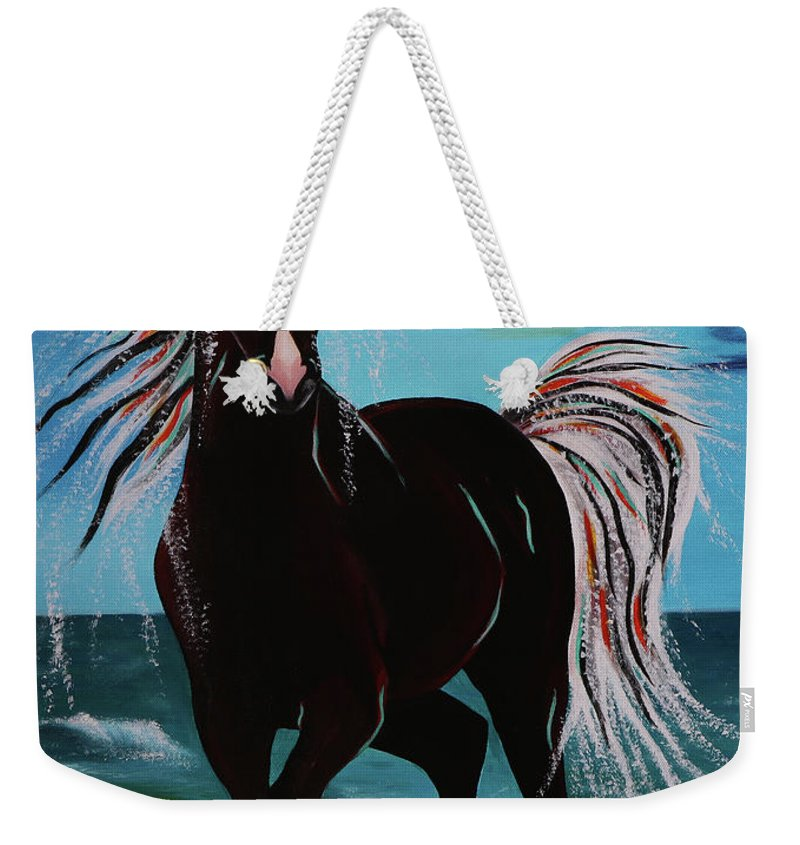 Horse Weekender Tote Bag featuring the painting Waterhorse by Nicole Paquette
