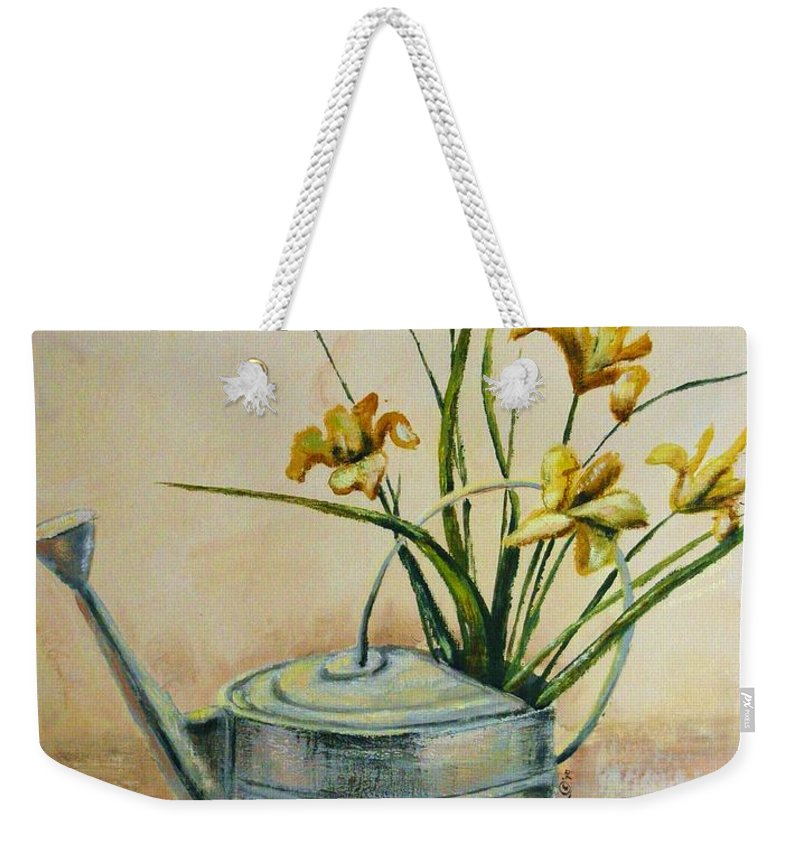 Still Life Weekender Tote Bag featuring the painting Watering Can by Marilyn Smith