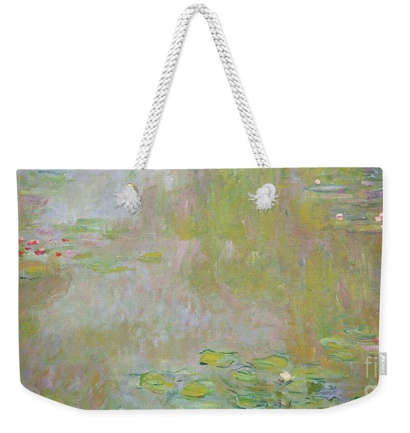 Waterlilies At Giverny Weekender Tote Bag featuring the painting Waterlilies At Giverny by Claude Monet