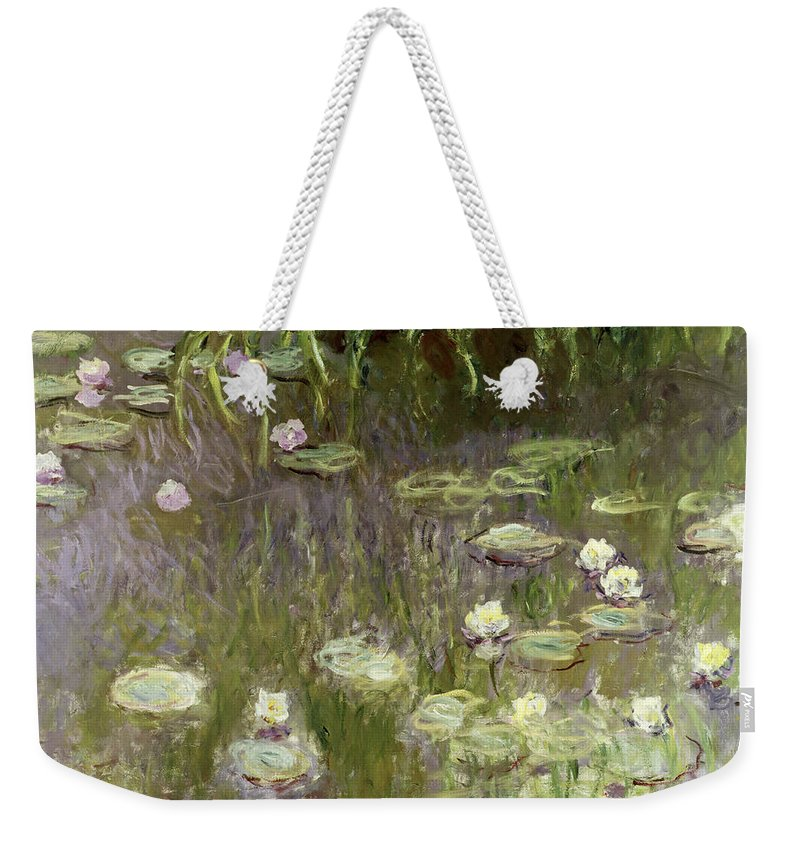Waterlilies At Midday Weekender Tote Bag featuring the painting Waterlilies At Midday by Claude Monet