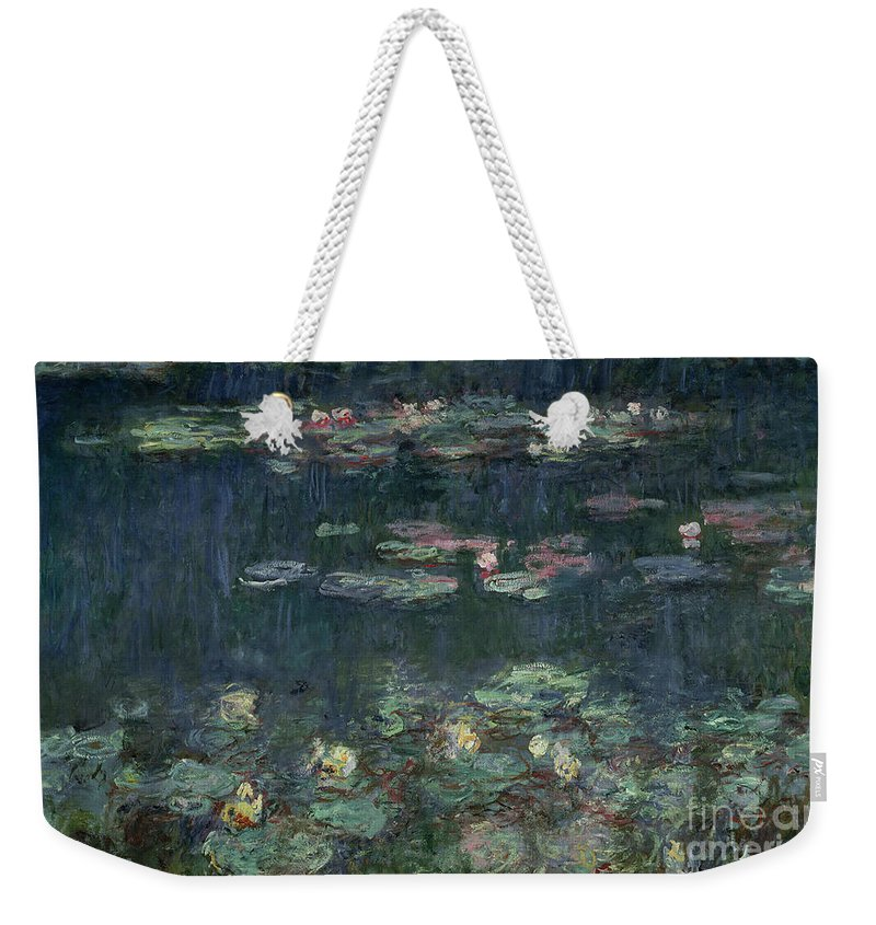 Monet Weekender Tote Bag featuring the painting Waterlilies Green Reflections by Claude Monet