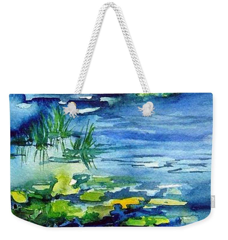 Waterlilies Weekender Tote Bag featuring the painting Waterlilies by Joanne Smoley
