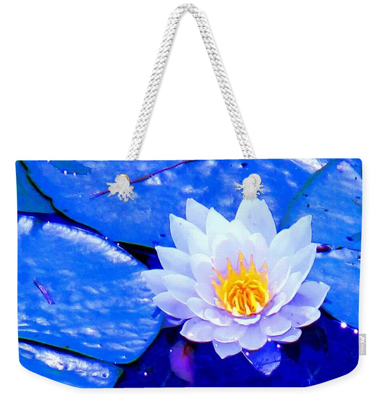 Waterlilly Weekender Tote Bag featuring the photograph Blue Water Lily by Ian MacDonald