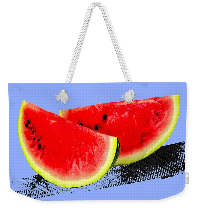 Pop Art Weekender Tote Bag featuring the painting Watermelon by Dominic Piperata