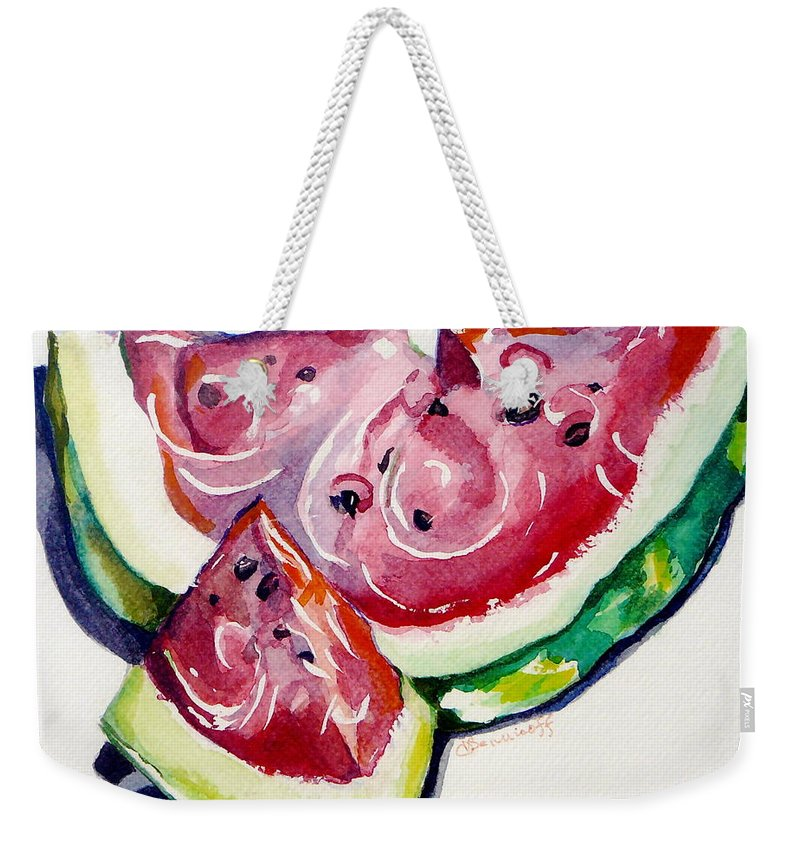 Still Life Weekender Tote Bag featuring the painting Watermelon by Jan Bennicoff