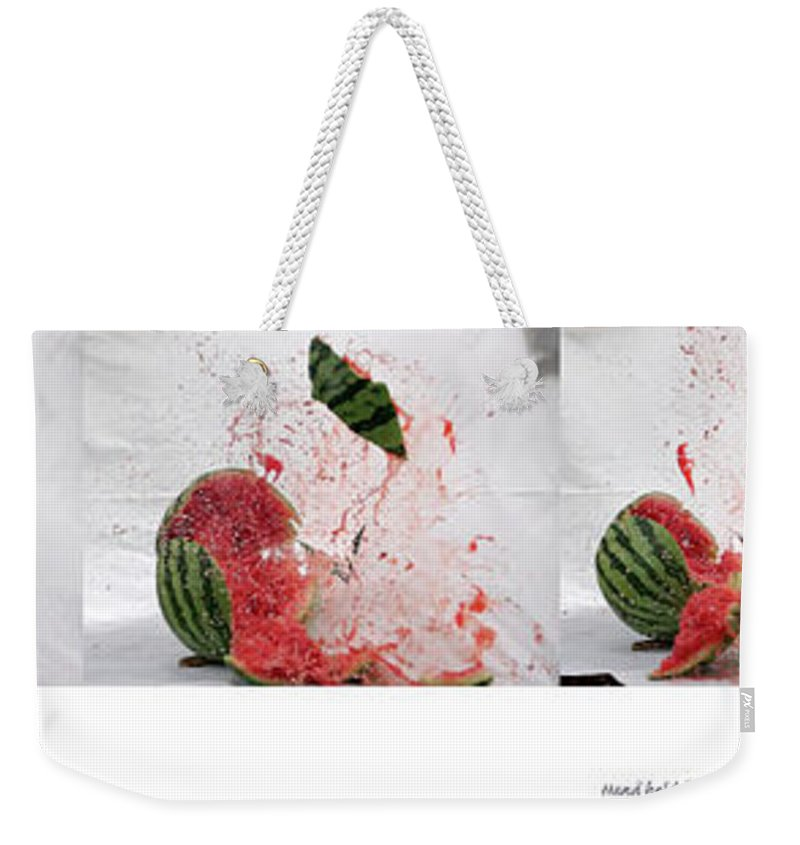 Shooting Weekender Tote Bag featuring the photograph Watermelon Progression by Tim Dussault
