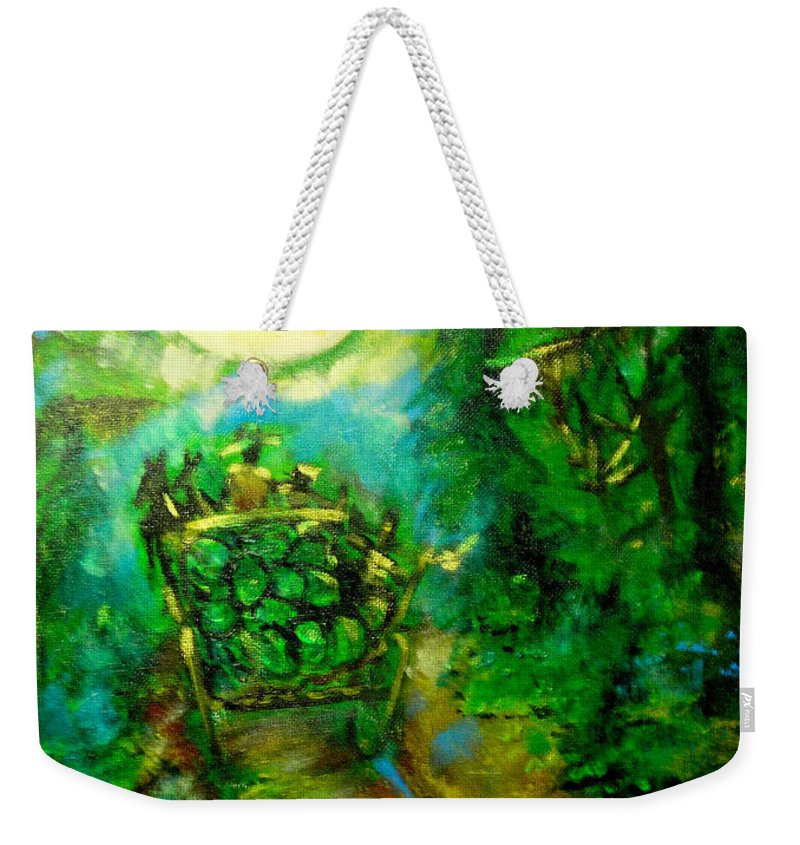 Watermelon Wagon Moon Weekender Tote Bag featuring the painting Watermelon Wagon Moon by Seth Weaver