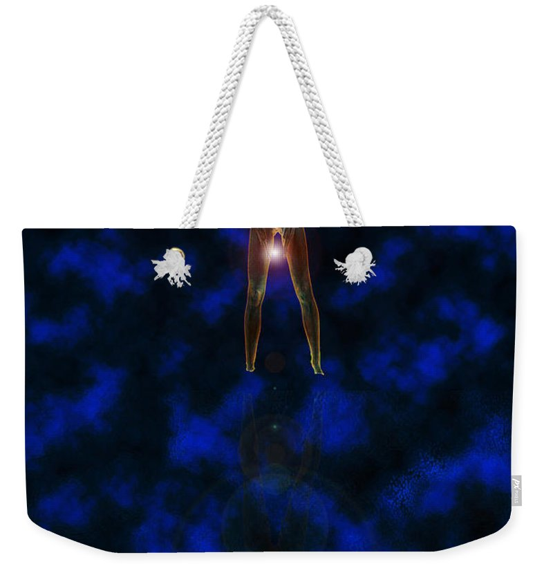 Woman Orb Star Water Reflection Glow Glowing Nude Lady Ladies Mysterious Weekender Tote Bag featuring the digital art Waters Edge by Andrea Lawrence