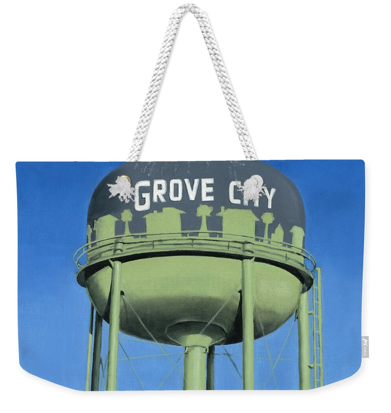 Old Weekender Tote Bag featuring the painting Watertower Grove City by Rob De Vries
