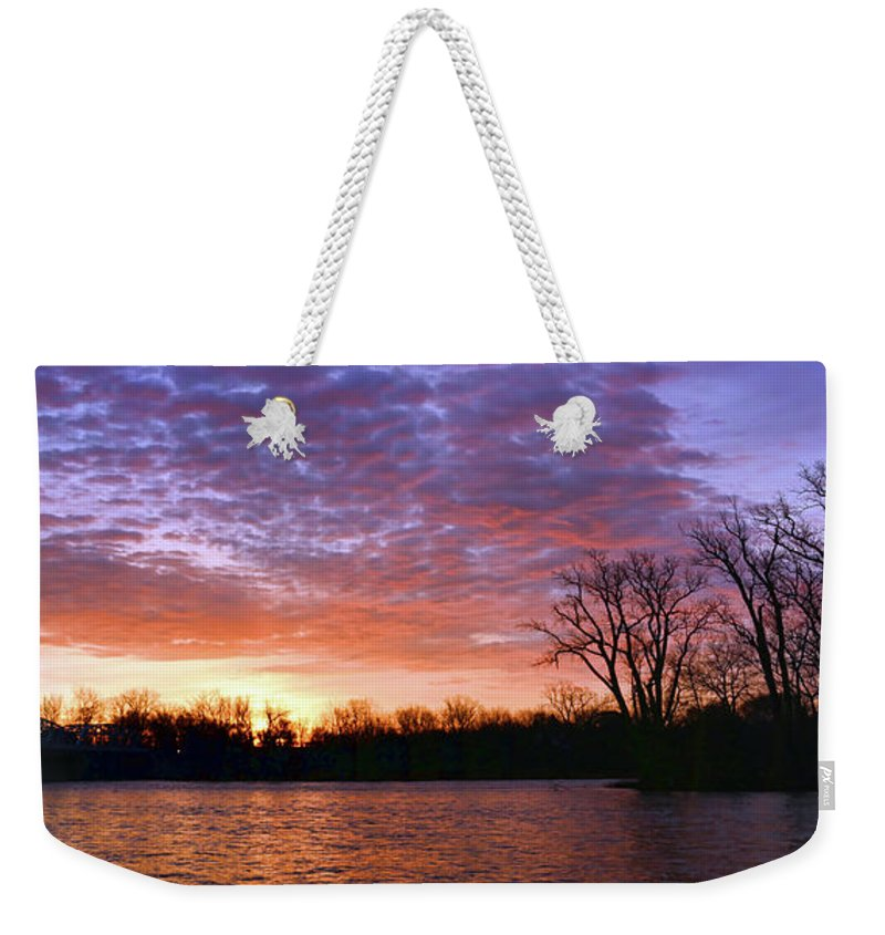 Waterville Weekender Tote Bag featuring the photograph Waterville Sunrise Panorama 0002 0003 Signed by Jack Schultz