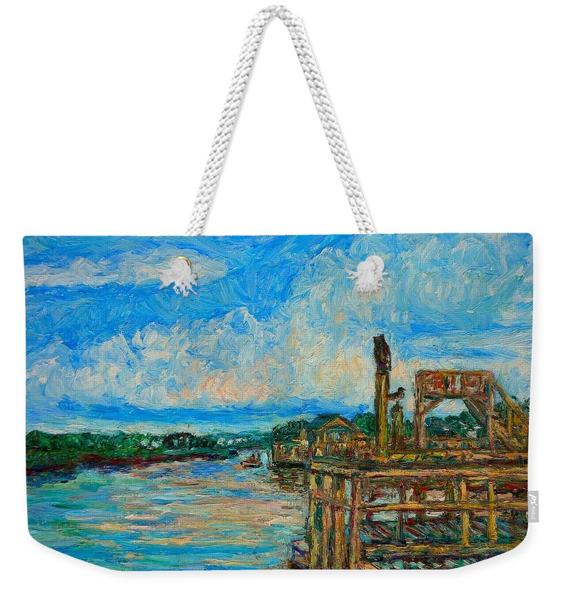 Kendall Kessler Weekender Tote Bag featuring the painting Waterway Near Pawleys Island by Kendall Kessler